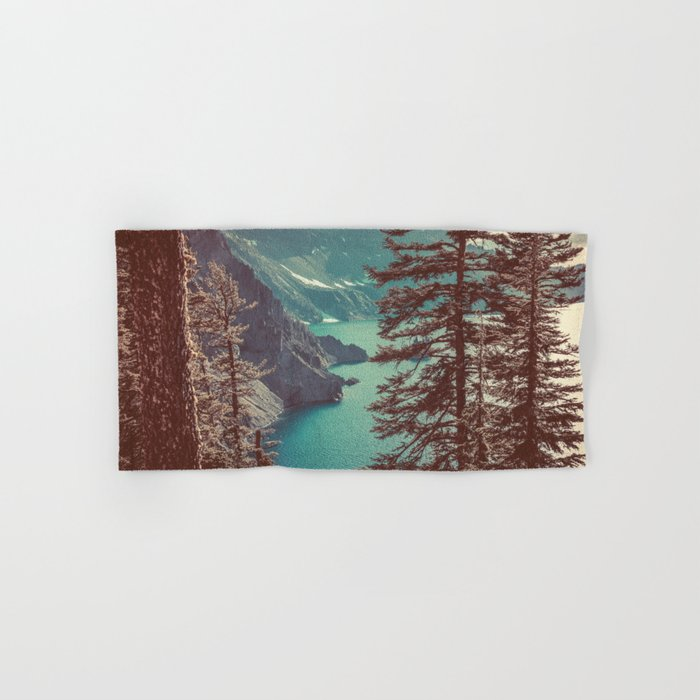 Vintage Blue Crater Lake and Trees - Nature Photography Hand & Bath Towel