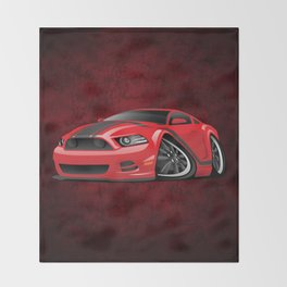 Modern American Muscle Car Cartoon Throw Blanket