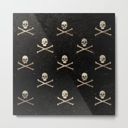 Skulls & Crossbones - Square Metal Print