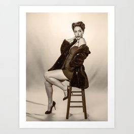 """""""Show a Little Shoulder"""" - The Playful Pinup - Vintage Pin-up Girl in Coat by Maxwell H. Johnson Art Print"""