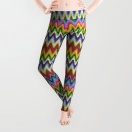 Rainbow, multicolored waves in ethnic style Leggings