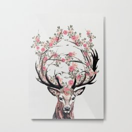 Deer and Flowers Metal Print