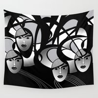 women Wall Tapestries featuring oriental women by Sandyshow