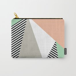 Stripes & Triangles - Peach & Mint Carry-All Pouch