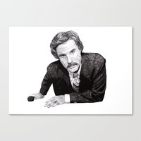 will ferrell Canvas Prints featuring Ron by Rik Reimert