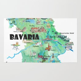 Bavaria Germany Illustrated Travel Poster Map Rug