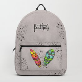 Two bright tribal feathers Backpack