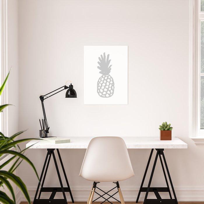 Light Grey Pineapple Poster