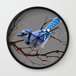 WINTER BLUE JAY IN TREE BRANCHES Wall Clock