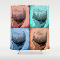 globe Shower Curtains featuring Globe by Aloke Design
