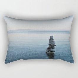 Balance stone pyramid on the sea coast in Croatia Rectangular Pillow