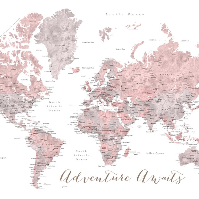 World map in dusty pink & grey watercolor, Adventure awaits Comforters