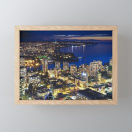Voyeuristic 1556 Vancouver Cityscape Twilight View English Bay Vancouver Framed Mini Art Print