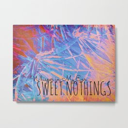 SWEET NOTHINGS - Beautiful Abstract Midnight Romantic Valentine Florals, Eggplant Pink Modern Metal Print