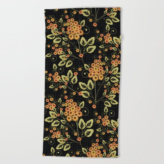 Bright floral pattern on a black background. Beach Towel