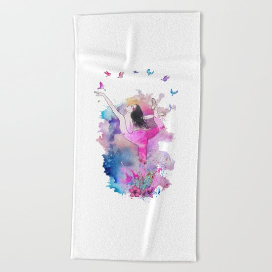 Ballerina with birds Beach Towel