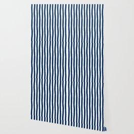 Navy and White Cabana Stripes Palm Beach Preppy Wallpaper