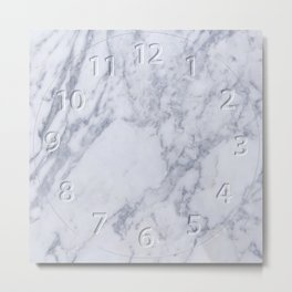 White Marble with all the numbers Metal Print