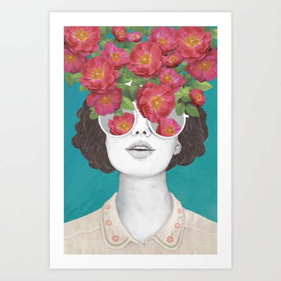The optimist    rose tinted glasses Art Print. Art Prints   Society6