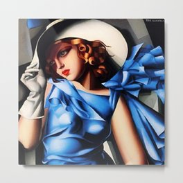 Girl in a Blue Dress Haute Couture Art Deco portriat painting Tamara de Lempicka Metal Print