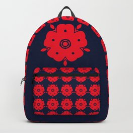 Japanese Samurai flower red pattern Backpack
