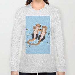 Adorable Otters Blue Sea Long Sleeve T-shirt