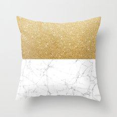 White Marble & Gold Throw Pillow