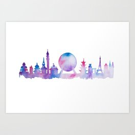 EPCOT Skyline Watercolor Silhouette Art Print