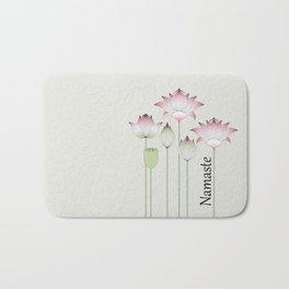 Modern Vintage Pink Lotus Flower Bath Mat