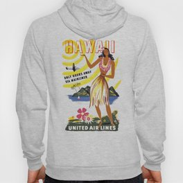 1950 HAWAII Hula Dancer United Airlines Travel Poster Hoody