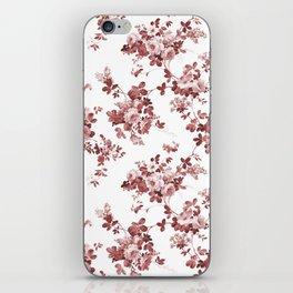 Shabby vintage coral burgundy brown roses floral iPhone Skin