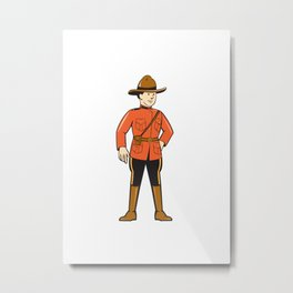 Mounted Police Officer Standing Front Metal Print