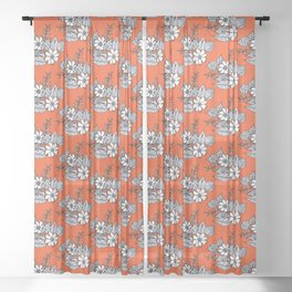 Orangey Gray Floral Sheer Curtain
