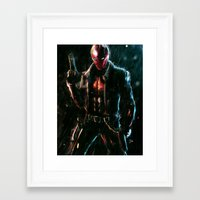 red hood Framed Art Prints featuring Red Hood by Lenin Lavina