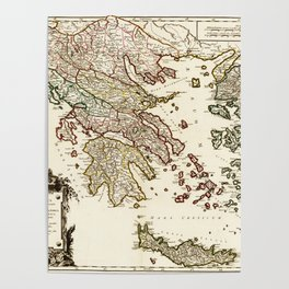 1752 Map of Greece Poster