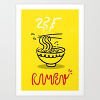 ramen Art Prints featuring RAMEN by OHOO SIX