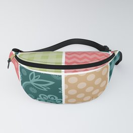 Zigzag, Polka Dots, Gingham - Green Red Blue Fanny Pack