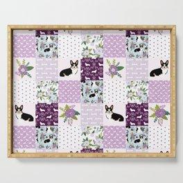 Tricolored Corgi Patchwork - feminine floral, florals corgis, dog lover, dog design, cute dogs Serving Tray