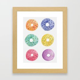 Watercolor Donut Pattern Framed Art Print