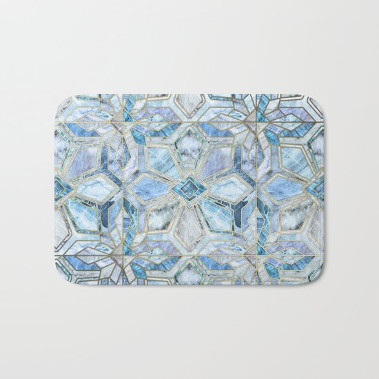 Geometric Gilded Stone Tiles in Soft Blues Bath Mat
