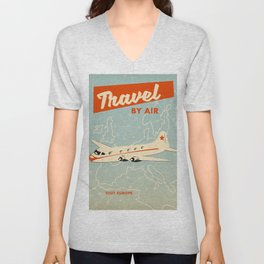 "1950s style ""by air"" travel poster print. Unisex V-Neck"