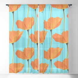 Poppies On A Turquoise Background #decor #society6 #buyart Sheer Curtain