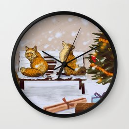 Christmas City Foxes Wall Clock