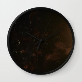 Planet surrounded by asteroids. Outer Space, Cosmic Art and Science Fiction Concept. Wall Clock