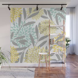 Floral Prints, Leaves and Blooms, Gray, Yellow and Aqua Wall Mural