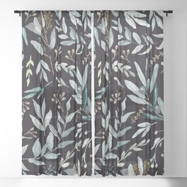 Black Eucalyptus Pattern Sheer Curtain