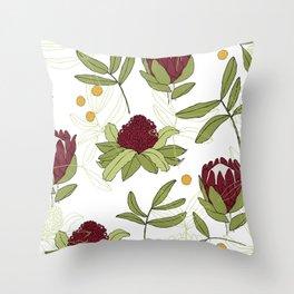 Waratah and Eucalyptus Throw Pillow