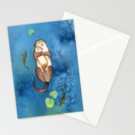 Cuddling Otters Stationery Cards