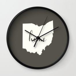 Ohio is Home - White on Charcoal Wall Clock