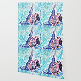 3047-JPC Abstract Nude in Blue Green Yoga Stretch Feminine Power Wallpaper